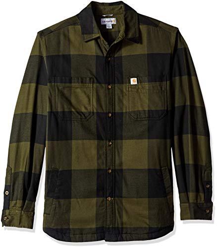 Carhartt Men's Rugged Flex Hamilton Fleece Lined Shirt (Regular and Big & Tall Sizes), Olive, X-Large