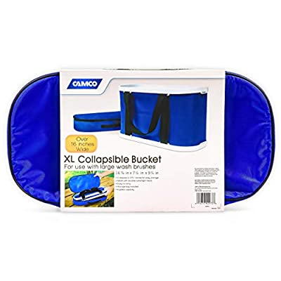 Camco Rectangular Collapsible Wash Bucket with Zippered Storage Case - Ideal For Large Wash Brushes, Perfect For Car, Truck, Boat and RV Washing, Easy Storage After Each Use -Holds 5 Gallons (42973): Automotive