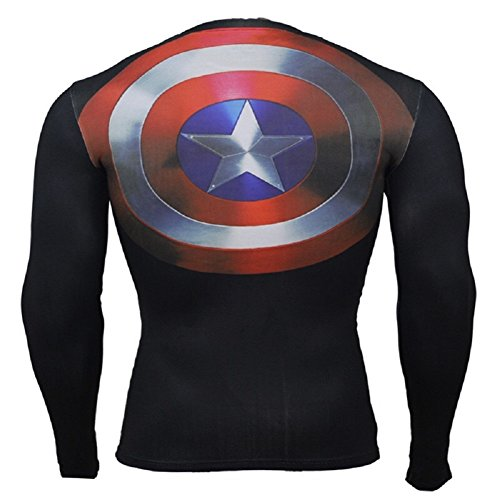 Cosfunmax Superhero Captain Team Leader Compression Shirt Sports Gym Ruining Base Layer XS by Cosfunmax (Image #3)