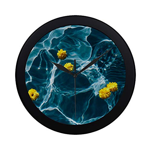 Modern Simple Kaboompics Small Yellow Flowers Floating In The Po Pattern Wall Clock Indoor Non-ticking Silent Quartz Quiet Sweep Movement Wall Clcok For Office,bathroom,livingroom Decorative 9.65 ()
