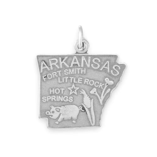 (925 Sterling Silver Arkansas State Charm)
