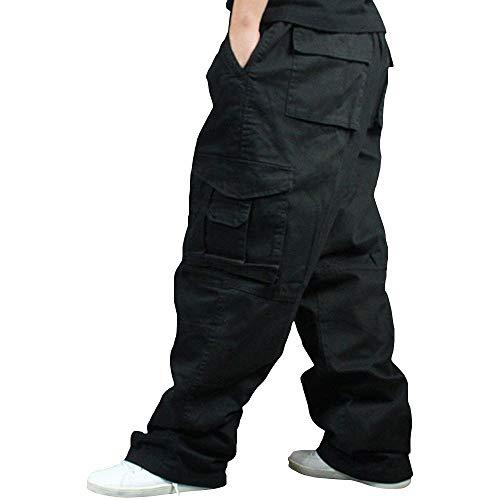 Men Plus Size Cargo Trousers Outdoor Dance Pants Loose Baggy Hip Hop Pocket (Black, 90cm(Waistline: 90cm/35.4 inches))