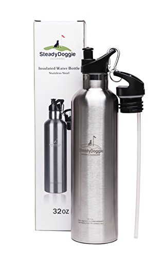 Insulated stainless steel water bottle 32 ounce straw flip top and sports cap with clip | sweat and leak proof, BPA-free, stays cold 24 hrs/hot 12 hrs | double walled thermo vacuum drinking flask