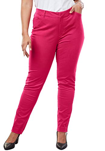 Roamans Women's Plus Size Everywhere Pant - Crystal Berry, 16 W