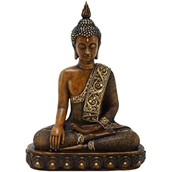 Benzara Asian-Themed Sitting Polystone Buddha Sculpture, 15 by 12