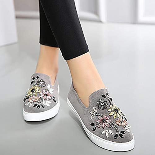 Paillette Plat Été UK5 EU37 Chaussures US7 Confort Velours 5 Gray Basket Noir Bout CN37 Gris TTSHOES Rond Kaki Strass Femme Printemps Talon Brillante InxFqqR87