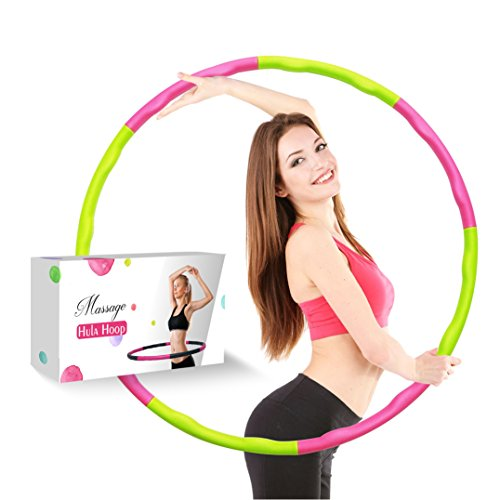 Liberry Weighted Hula Hoop for adults: Fun Exercise For Weight Loss, Slim Waist And Strong Abs,Soft Foam Padding For Comfort And Protection (Pink-Green) - Hoop Hula Fitness
