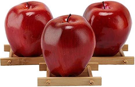 3 Manzanas artificiales, frutas falsas, manzanas rojas deliciosas para decoración, frutas realistas, manzanas rojas sintéticas.: Amazon.es: Hogar