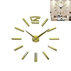 Meflying 3D DIY Wall Clock, Modern Frameless Large Wall Clock Mirror Sticker for Home Office Decor (Gold)