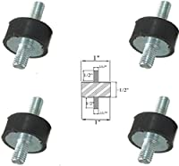 "Lot of (4) Rubber Anti Vibration Isolator Mounts Rubber Height 1/2"" x 1"" Rubber Diameter - Studs 1/4-20 x 1/2"" Length"