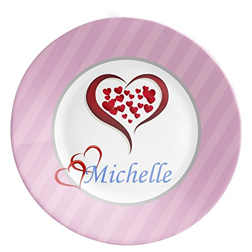 Heart Personalized Plate - Pink Heart Dinner Plate, Hot Pink Polka Dots Love Valentines Day Melamine Plate - Kids Personalized Gift under 25