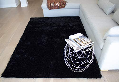 LA Shag Shaggy Rectangular Large Fluffy Plush Fuzzy Solid Furry Floor Soft Pile Scatter Solid Plush 5-Feet-by-7-Feet Polyester Made Area Rug Carpet Rug Black Color