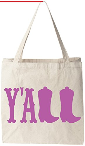 "Y'all - Natural Cotton Canvas Tote Bag 12 Oz (11""X14""X5"") Reusable Ideal for Groceries, Shopping, School and Office (Recycle Rhode Island)"