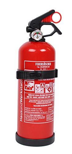 1 Stück Feuerlöscher Pulver ABC 1kg mit Halterung Autofeuerlöscher fabrikfrisch!
