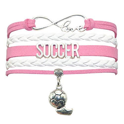 HHHbeauty Infinity Soccer Bracelet Jewelry Cute Soccer Ball Charm Bracelet Soccer Gifts for Women, Girls, Men, Boys, Soccer Lovers, Soccer Team Soccer Themed Gifts (Pink and White)