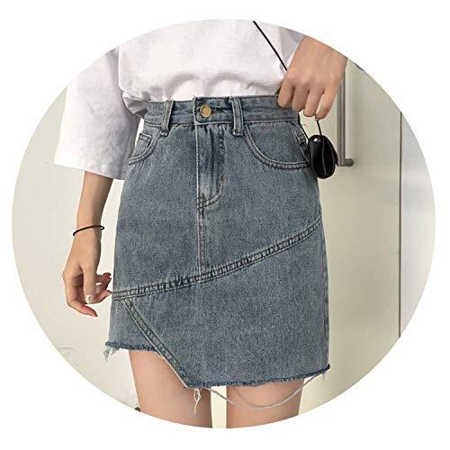 Crunchy Candy Irregular Torn Edge Denim Skirt Woman 2019 Summer Slim Skirt High Waist Denim Short Skirt,Blue,XL