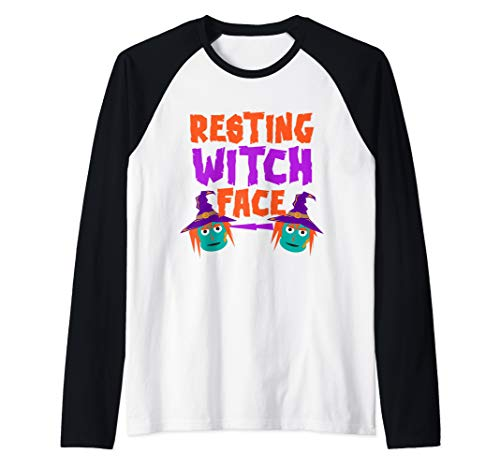 Resting Witch Face Quick Halloween Witch Costume Gag Gift Raglan Baseball Tee]()
