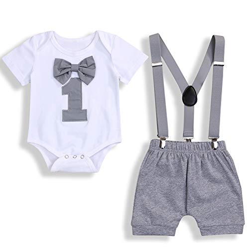 GRNSHTS Baby Boy Funny First Birthday Clothes Infant Boy Bow Tie Romper Bodysuit Cake Smash Outfits (Gray, 12-15 Months)
