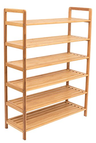 BIRDROCK HOME Free Standing Bamboo Shoe Rack - 6 Tier - Wood - Closets and Entryway - Organizer - Fits 18 Pairs of Shoes