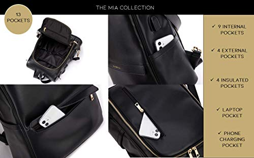 Mia + Sophia Leather Diaper Bag Backpack with Changing Pad, Stroller Straps, Bottle Holder
