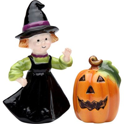 Cosmos Gifts 56550 Halloween Pumpking and Witch Salt and Pepper Set, 2-1/4-Inch