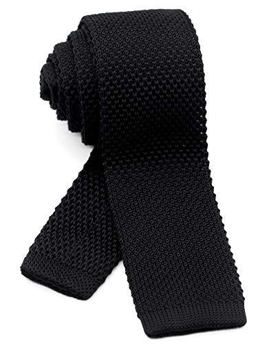 WANDM Men's knit tie slim skinny square necktie width 2