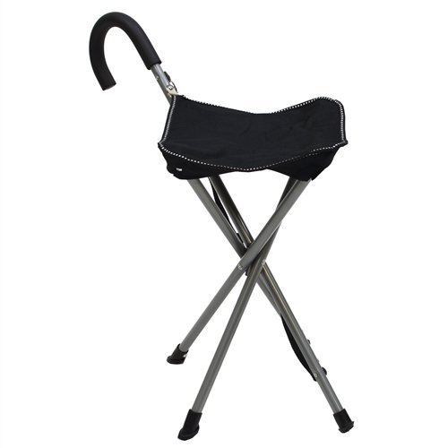 Walking Stick Seat - Folding Cane Chair - Walking Stick with Stool - In Black