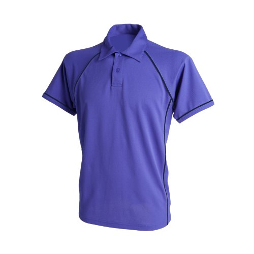FINDEN & Hales Piped Performance Polo Lila / Navy 2XL