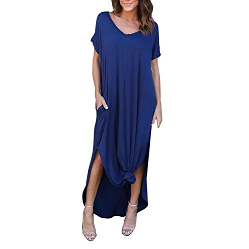 Lamolory Women's Casual Pocket Beach Long Dress Short Sleeve Split Loose Maxi Dress (Blue, XXL) - Front Long Dress