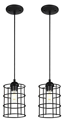 One-Light Adjustable Mini Pendant with Metal Cage Shade, Oil Rubbed Bronze Finish (2 Pack)