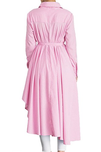 Long Loose Low Fit Sleeve Adjustable Fashionable Dress Low ModMod Fall with High Pink Women's Striped Shirt Hi Belt Style q6aOzfay