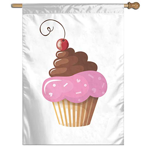 YUANSHAN Single Print Home Garden Flag Chocolate Cherry Fruit Cupcake Polyester Indoor/Outdoor Wall Banners Decorative Flag 27