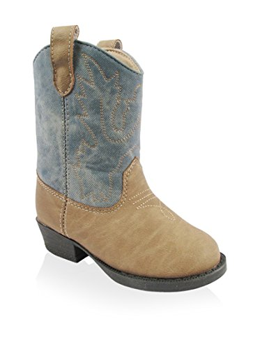 Tan Infant and Toddler Unisex Cowboy Western Boots with Denim Jean Accents by Baby Deer - Beige - 11 Toddler / 48 Mths-54 Mths / 6.50-7.00