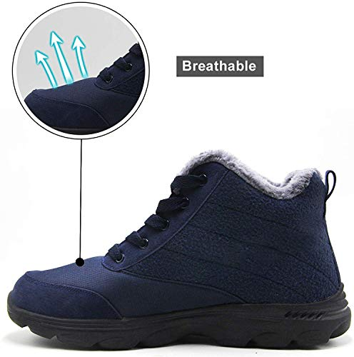 BenSorts Winter Boots for Womens Fur Lined Anti-Slip Snow Booties Warm Outdoor Ankle Boots Blue Size 11