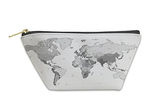 Gear New Accessory Zipper Pouch, Gray Detailed World Map, Small, 5810608GN by Gear New