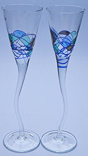 PAIR OF SHERRY GLASS GOBLET ROYAL AQUAMARINA, unique glass goblet of artisanal production, manufactured with blown glass technique and handpainted. 10,43'' x 8,66'' x 3,15'' by ART ESCUDELLERS