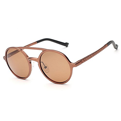 Classic Round Unisex Sol Gafas Frame Gafas Colors Metal de Brass Retro Sun Black 5 Yxsd polarizadas Color qgwXYnI