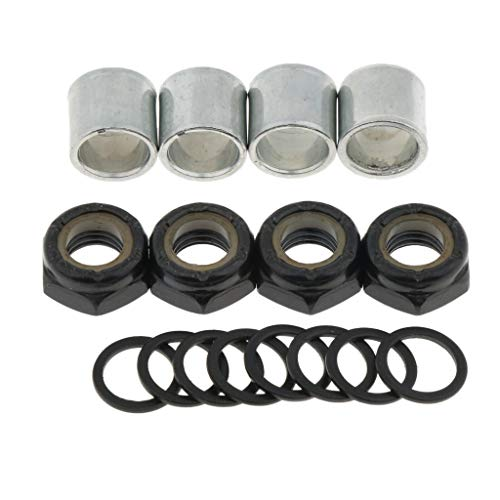 DYNWAVE Skateboard Truck Speed Kit Axle Speed Washers + Screw Nuts + Spacers for Long Board Cruiser Scooter Parts - Black, 8mm (Scooters Spacers)