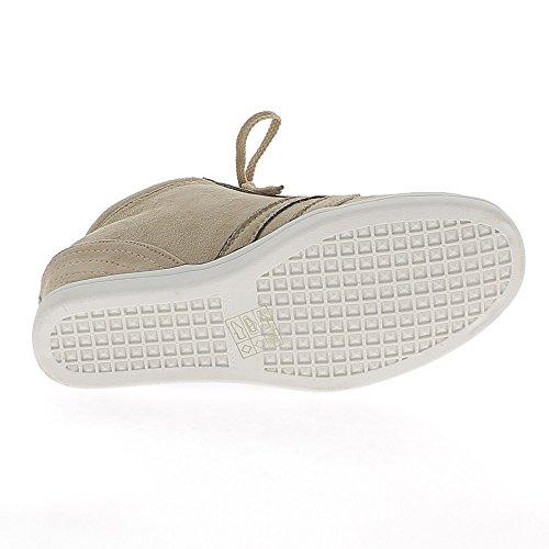 Baskets compensées montantes taupe avec strass à talon de 6cm