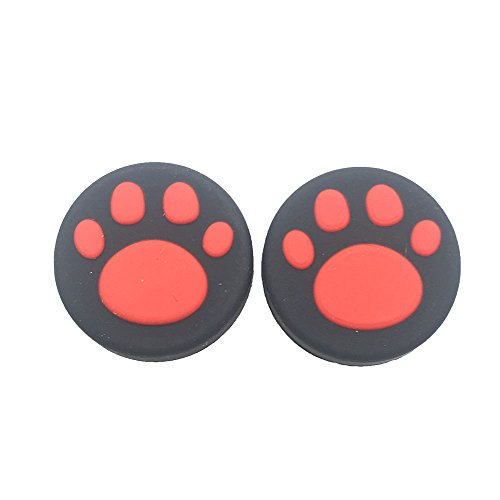 2PCS Silicone Analog Controller Thumb Stick Grips Cap For Nintendo Switch NS Controller Joy-Con ThumbStick(2 PCS Red Cute Cat Paw Claw)