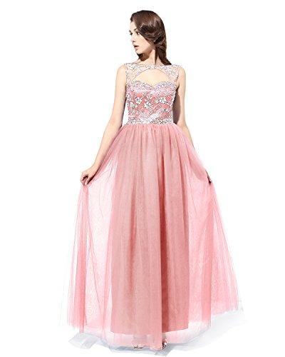 Tulle In Rosa Abito Da Lungo Abito Perline Illusione Sera Da Bridesmay D'onore Damigella Di nEH5H