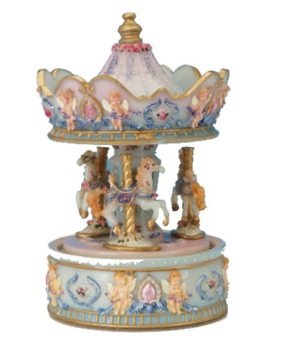 MusicBox Kingdom 14042 Carousel with Angel Music Box Playing