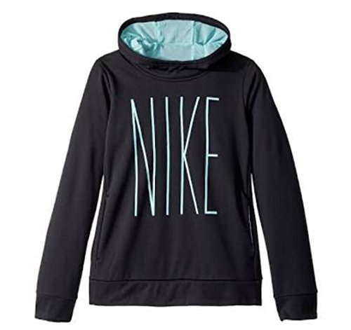 Nike Girls Graphic Thermal Hoodie (Small, Black Light Aqua)