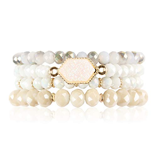 (RIAH FASHION Bohemian Versatile Multi-Layer Bead Statement Bracelet - Stretch Strand Stackable Cuff Bangle Set Sparkly Crystal, Acrylic Druzy, Pave Fireball (Hexagon Acrylic Druzy - Ivory))