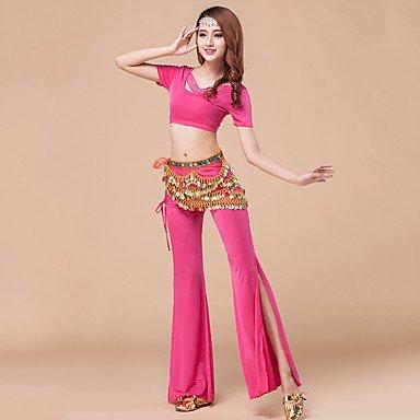 Danza del Ventre Completi per Donna Addestramento Modal Drappeggi 2 Pezzi Maniche Corte Naturale Pantaloni/giaccaTop M:30cm/L:32cm,Pant, l