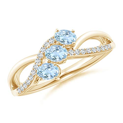 Oval Aquamarine Three Stone Bypass Ring with Diamonds in 14K Yellow Gold (4x3mm Aquamarine) -