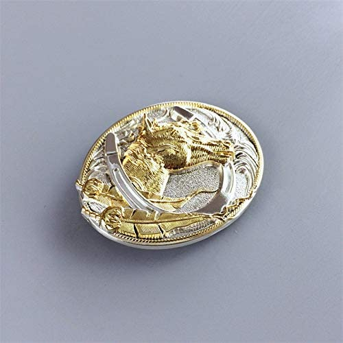 Two-Tone Silver Gold Plated Horse HorseShoe Belt Buckle ベルトのバックル also Stock in US