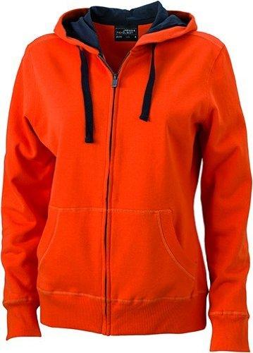 JN594–1Ladies 'Hooded Chaqueta Sudadera Sudadera con capucha Dark Orange-Carbon