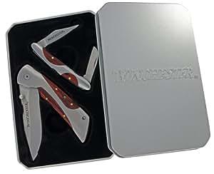 Winchester 31-001480 Liner Lock Pocket Folding Knife and 2 Blade Stockman Knife, 2-Piece Set