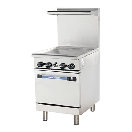 TAR24G 24'''' Range with Heavy Gauge Welded Frame 24'''' Thermostat Griddle Stainless Steel Construction 1 Standard Oven Individual Pilots Full Size Crumb Tray and Adjustable Oven Thermostat: Natural